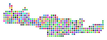 Bright Dot Crete Island Map. Vector geographic map in bright colors on a white background. Colored vector composition of Crete Island Map combined of regular round pixels.