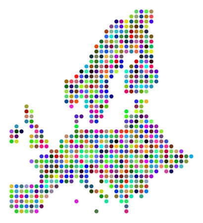Bright Dot European Union Map. Vector geographic map in bright colors on a white background. Colorful vector composition of European Union Map constructed of regular round dots.
