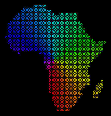 Rainbow dot Africa Map. Vector geographic map in bright spectral colors with circular gradient on a black background. Multicolored vector pattern of Africa Map combined of regular small circles.