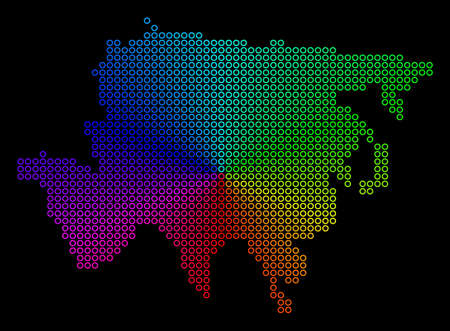 Rainbow dot Asia Map. Vector geographic map in bright spectral colors with circular gradient on a black background. Bright vector pattern of Asia Map constructed of regular circle elements.
