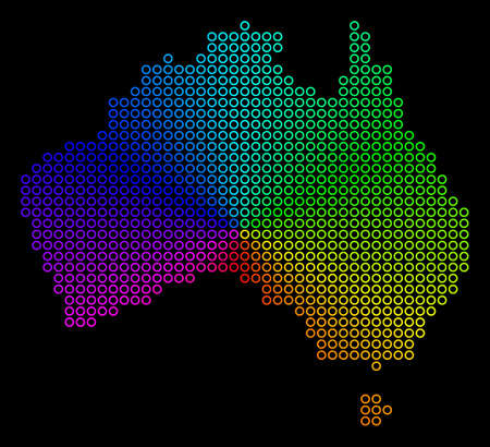 Rainbow dotted Australia Map. Vector geographic map in bright rainbow colors with circular gradient on a black background. Color vector pattern of Australia Map done of regular dots. 일러스트