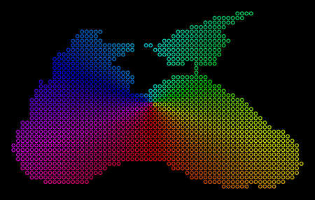 Spectral dotted Black Sea Map. Vector geographic map in bright spectrum colors with circular gradient on a black background. Bright vector pattern of Black Sea Map combined of regular dots.