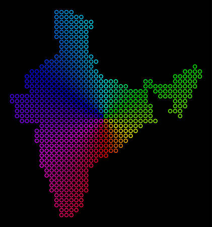 Spectral dotted India Map. Vector geographic map in bright spectrum colors with circular gradient on a black background. Color vector mosaic of India Map created of regular circle dots.