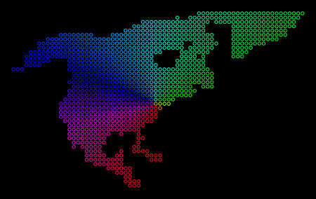 Spectral dot North America Map. Vector geographic map in bright spectral colors with circular gradient on a black background. Colored vector mosaic of North America Map done of regular round dots.