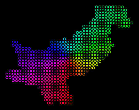 Rainbow dot Pakistan Map. Vector geographic map in bright rainbow colors with circular gradient on a black background. Color vector collage of Pakistan Map organized of regular round elements.