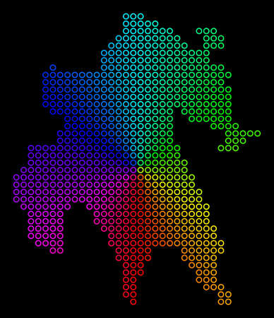 Spectral dotted Peloponnese Half-Island Map. Vector geographic map in bright spectral colors with circular gradient on a black background.