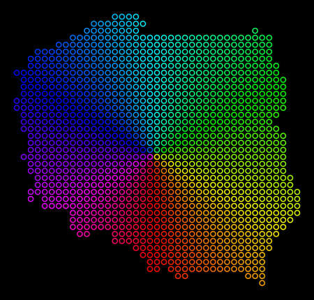 Spectrum dotted Poland Map. Vector geographic map in bright spectrum colors with circular gradient on a black background. Bright vector composition of Poland Map made of regular empty circles. Illustration