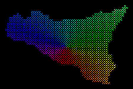 Spectrum dot Sicilia Map. Vector geographic map in bright spectral colors with circular gradient on a black background. Colored vector composition of Sicilia Map composed of regular round dots.