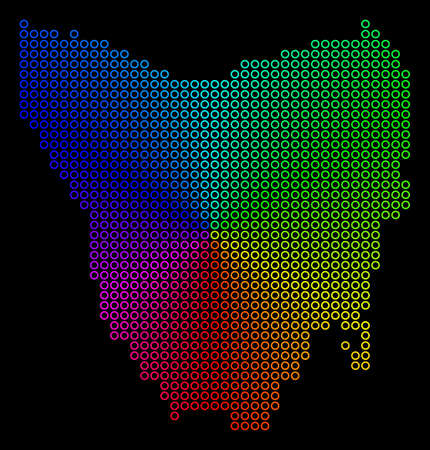 Rainbow dot Tasmania Island Map. Vector geographic map in bright spectrum colors with circular gradient on a black background. Illustration