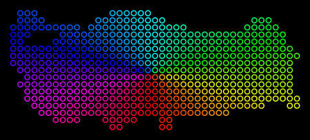Rainbow dotted Turkey Map. Vector geographic map in bright rainbow colors with circular gradient on a black background. Colored vector pattern of Turkey Map designed of regular round dots.  イラスト・ベクター素材