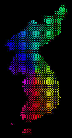 Spectral dotted North And South Korea Map. Vector geographic map in bright spectrum colors with circular gradient on a black background.