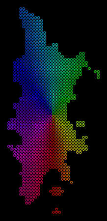 Spectral dotted Phuket Map. Vector geographic map in bright spectral colors with circular gradient on a black background. Colored vector mosaic of Phuket Map done of regular round dots. 向量圖像