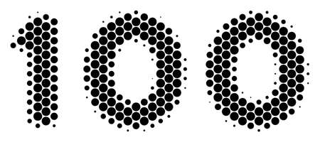 Halftone round spot 100 Text icon. Pictogram on a white background. Vector concept of 100 text icon constructed of circle elements.