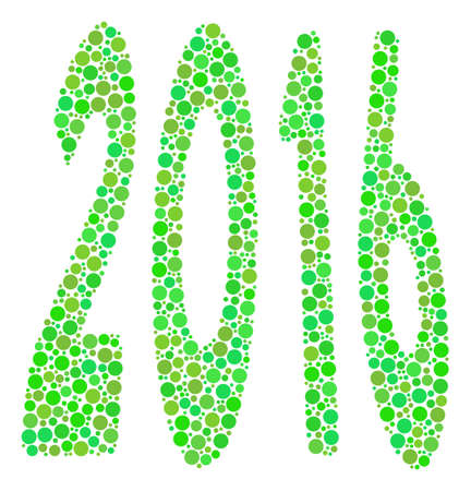 2016 Perspective collage icon of circle elements in variable sizes and green shades. Raster round dots are united into 2016 perspective illustration. Fresh raster illustration. Stock Photo