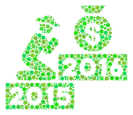 Pray For Money 2016 composition icon of dots in variable sizes and eco green color tones. Raster round dots are combined into pray for money 2016 mosaic. Ecological raster illustration.