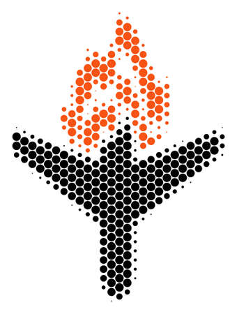 Halftone dot Air Crash icon. Pictogram on a white background. Vector pattern of air crash icon organized of round dots. Illustration