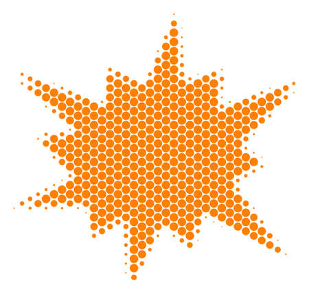 Halftone round spot Bang icon. Pictogram on a white background. Vector concept of bang icon constructed of round pixels. Archivio Fotografico - 100244384
