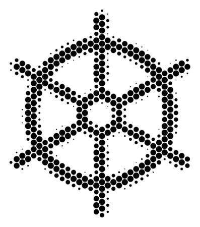 Halftone dot Boat Steering Wheel icon. Pictogram on a white background. Vector composition of boat steering wheel icon organized of round blots.