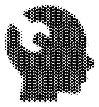 Halftone round spot Brain Wrench Tool icon. Pictogram on a white background. Vector concept of brain wrench tool icon created of spheric dots.