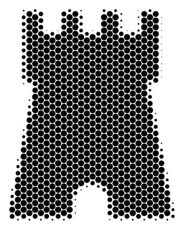 Halftone round spot Bulwark Tower icon. Pictogram on a white background. Vector composition of bulwark tower icon constructed of round blots.