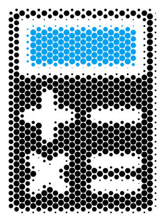 Halftone dot Calculator icon. Pictogram on a white background. Vector pattern of calculator icon created of spheric items.