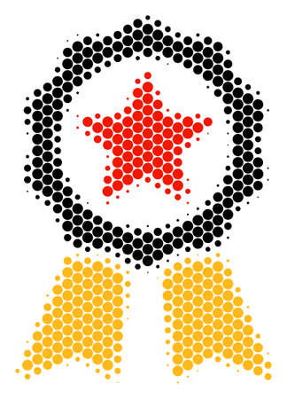 Halftone circle Certificate Seal icon. Pictogram on a white background. Vector composition of certificate seal icon created of circle items. Vectores