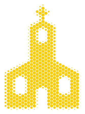 Halftone circle Christian Church icon. Pictogram on a white background. Vector collage of christian church icon done of circle spots. Ilustração