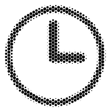 Halftone dot Clock icon. Pictogram on a white background. Vector composition of clock icon constructed of round items.