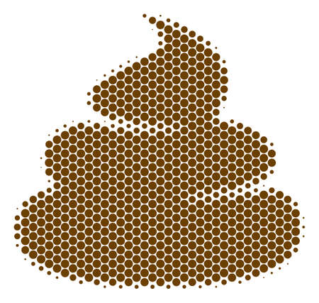 Halftone circle Crap icon. Pictogram on a white background. Vector mosaic of crap icon designed of sphere blots. Illustration
