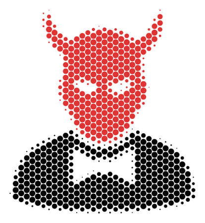 Halftone circle Devil icon. Pictogram on a white background. Vector pattern of devil icon composed of circle blots.