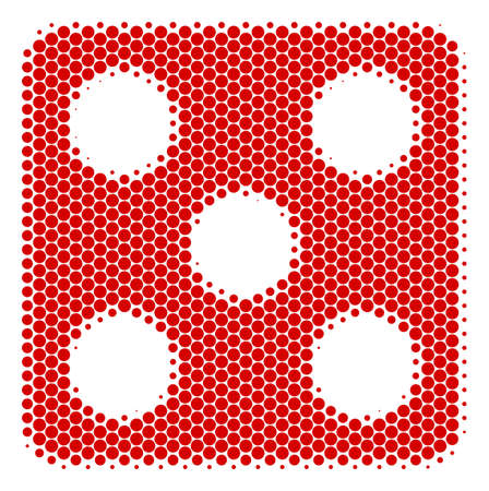Halftone dot Dice icon. Pictogram on a white background. Vector mosaic of dice icon done of round blots.