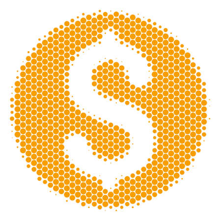 Halftone circle Dollar Coin icon. Pictogram on a white background. Vector composition of dollar coin icon constructed of round dots. Illustration