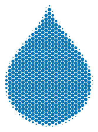 Halftone round spot Drop icon. Pictogram on a white background. Vector collage of drop icon composed of spheric blots. Иллюстрация