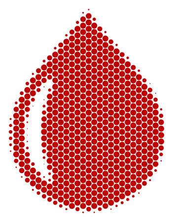 Halftone dot Drop icon. Pictogram on a white background. Vector collage of drop icon done of sphere pixels.