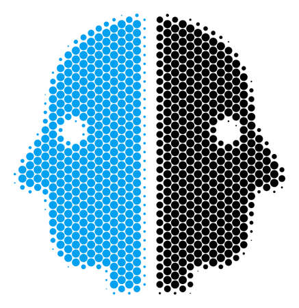 Halftone circle Dual Face icon. Pictogram on a white background. Vector collage of dual face icon combined of round pixels. Çizim