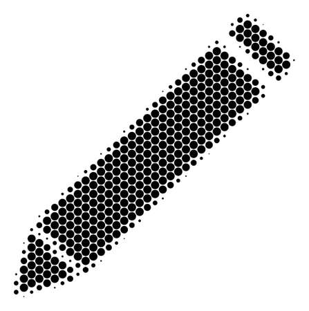 Halftone round spot Edit Pencil icon. Pictogram on a white background. Vector mosaic of edit pencil icon constructed of spheric items. Ilustração