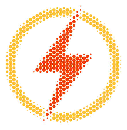 Halftone circle Electric Power icon. Pictogram on a white background. Vector mosaic of electric power icon composed of sphere elements.