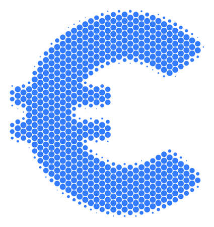 Halftone round spot Euro icon. Pictogram on a white background. Vector composition of euro icon composed of sphere items.