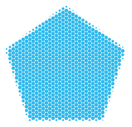 Halftone dot Filled Pentagon icon. Pictogram on a white background. Vector pattern of filled pentagon icon created of spheric elements. Illustration