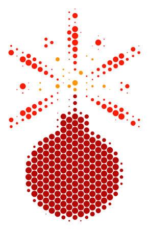 Halftone round spot Fireworks Detonator icon. Pictogram on a white background. Vector concept of fireworks detonator icon done of sphere blots.