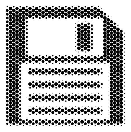 Halftone dot Floppy Disk icon. Pictogram on a white background. Vector collage of floppy disk icon made of circle dots. Illustration