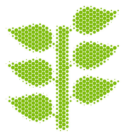 Halftone round spot Flora Plant icon. Pictogram on a white background. Vector collage of flora plant icon made of spheric pixels. Illustration