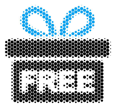 Halftone round spot Free Gift icon. Pictogram on a white background. Vector collage of free gift icon constructed of circle pixels. Stock Vector - 100245496