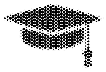 Halftone dot Graduation Cap icon. Pictogram on a white background. Vector collage of graduation cap icon combined of circle items.