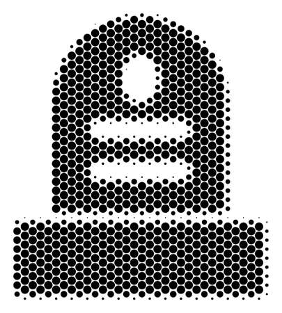 Halftone circle Grave icon. Pictogram on a white background. Vector concept of grave icon composed of spheric pixels. 일러스트