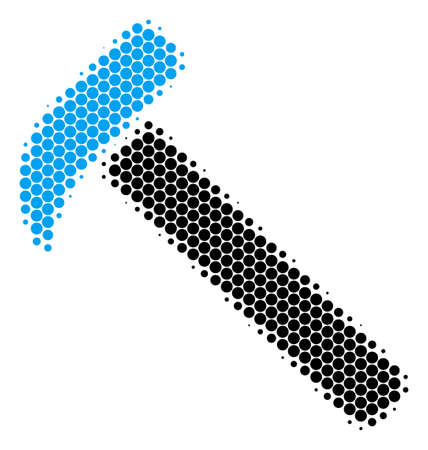 Halftone round spot Hammer icon. Pictogram on a white background. Vector pattern of hammer icon constructed of spheric dots.