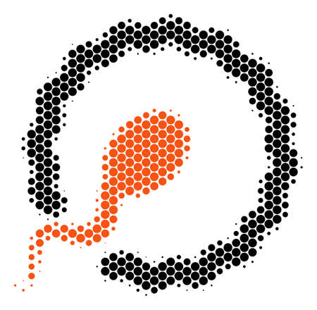 Halftone round spot Insemination icon. Pictogram on a white background. Vector mosaic of insemination icon made of round dots.