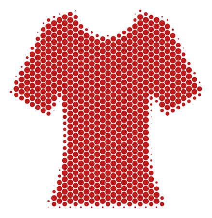 Halftone circle Lady T-Shirt icon. Pictogram on a white background. Vector mosaic of lady t-shirt icon organized of circle blots. Illustration
