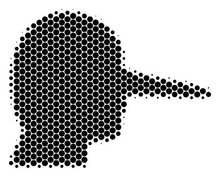 Halftone round spot Lier icon. Pictogram on a white background. Vector collage of lier icon constructed of spheric spots. Illustration