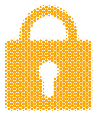 Halftone round spot Lock icon. Pictogram on a white background. Vector concept of lock icon created of circle elements.